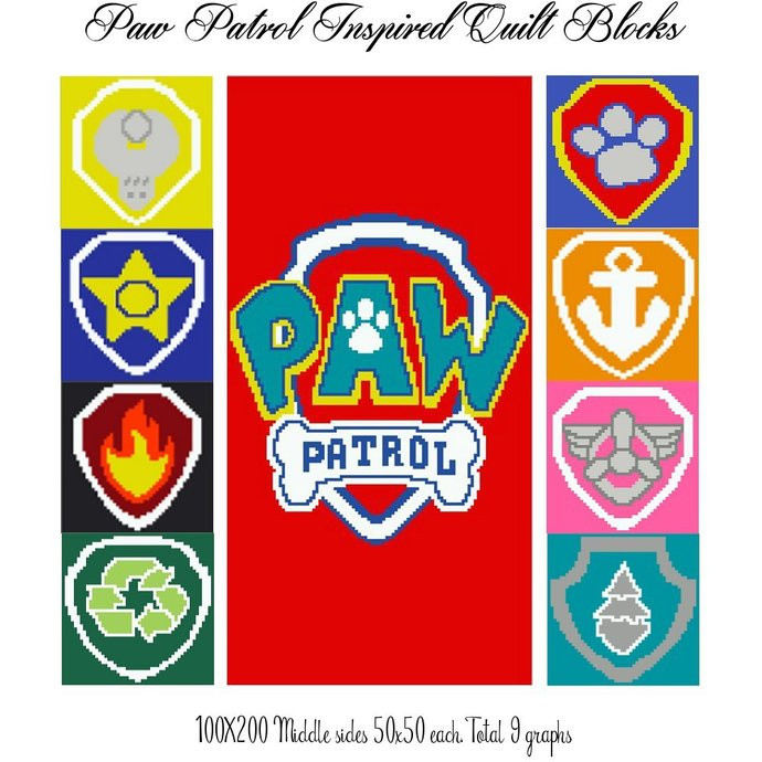 Paw Patrol Quilt Block Set Crochet Graph Pattern