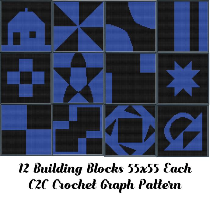 Building Block Blanket Set Crochet Graph Pattern