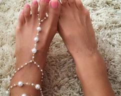 df17700528 Barefoot Sandals Pearls Beaded , Anklet, Beach wedding Pearls Barefoot  Sandal for Destination Wedding