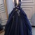 Unique Halter Lace-Up Floral Navy Blue Ball Gown, Quinceanera Dress