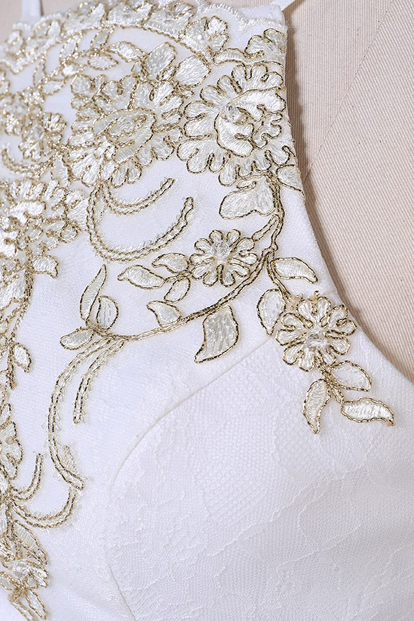 Two Piece Embroidered Mermaid White Prom Dress