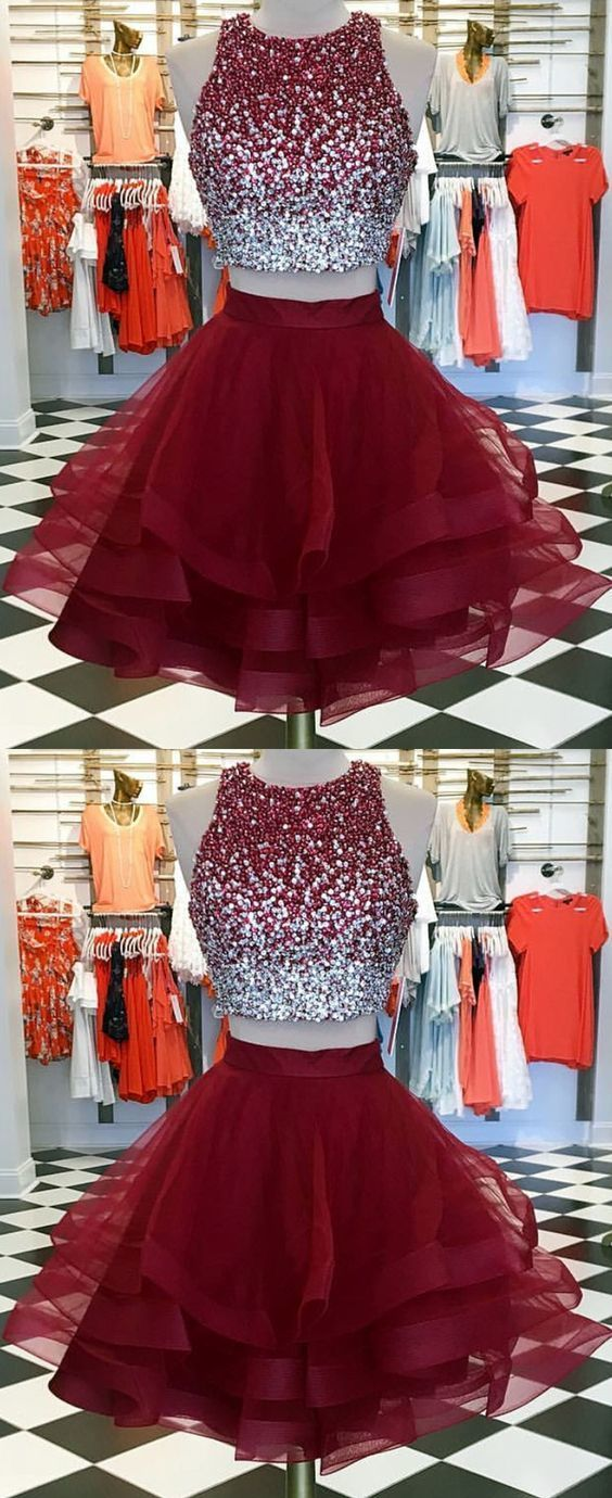 burgundy homecoming dresses,two piece homecoming dresses,short prom dress,ombre