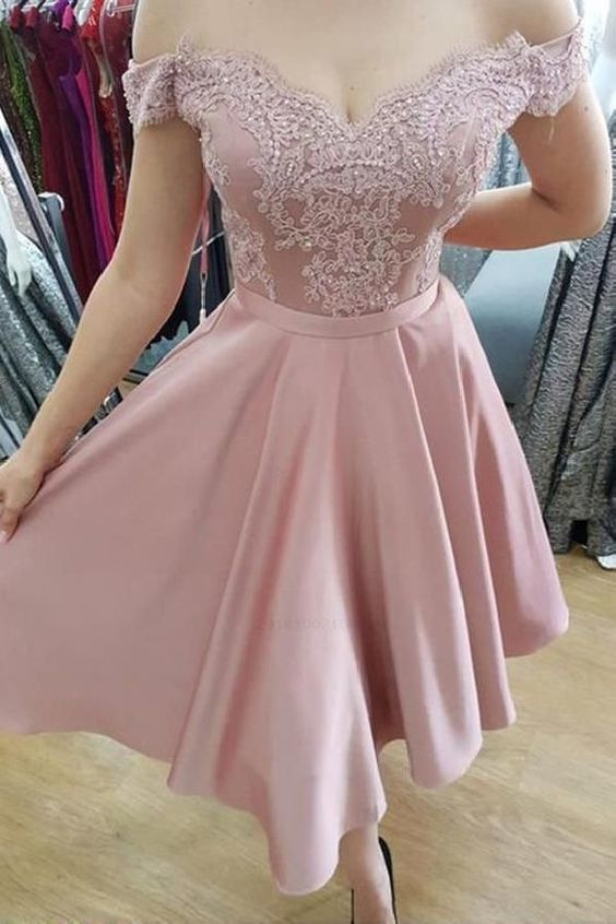 Off the Shoulder Short Homecoming Dresses with Appliques,B0876
