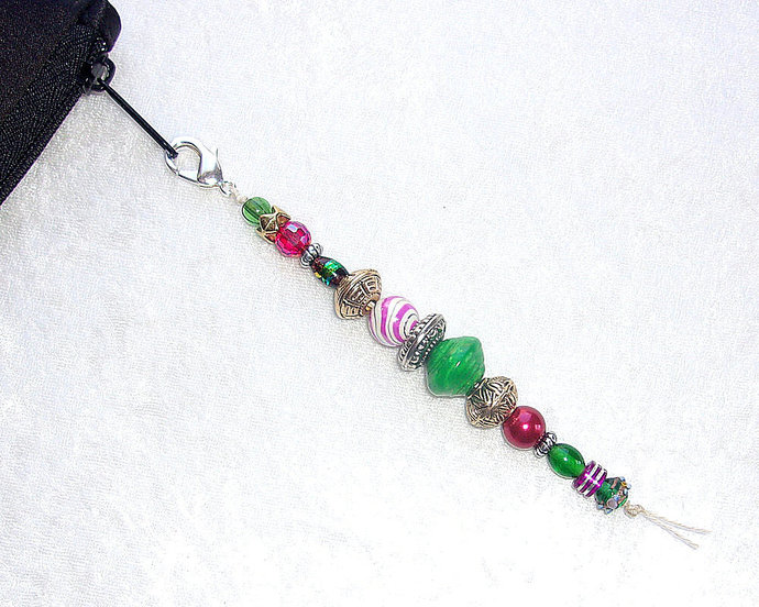 Zipper Pull or Charm beaded with Holiday Red and Green color beads