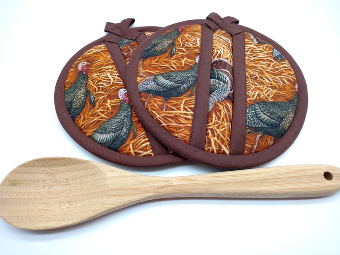 Wild Turkey Hot Pads, Turkey Potholders, Pocket Hot Pads,  Fabric Trivets, Round