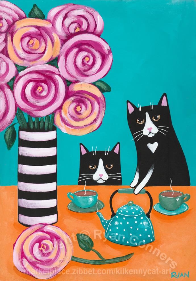 Tuxedo Cats and Tea Original Cat Folk Art Painting