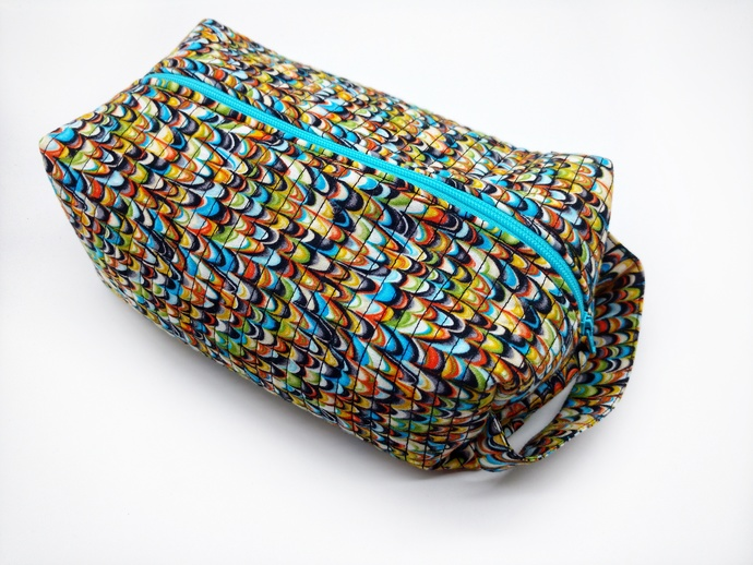 Zipper Make Up Bag, Bridal Shower Gift, Multi Colored Travel Bag, Zipper Bag for