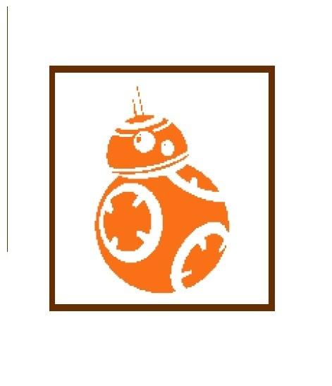 BB8 Star Wars robot silhouette cross stitch pattern in pdf