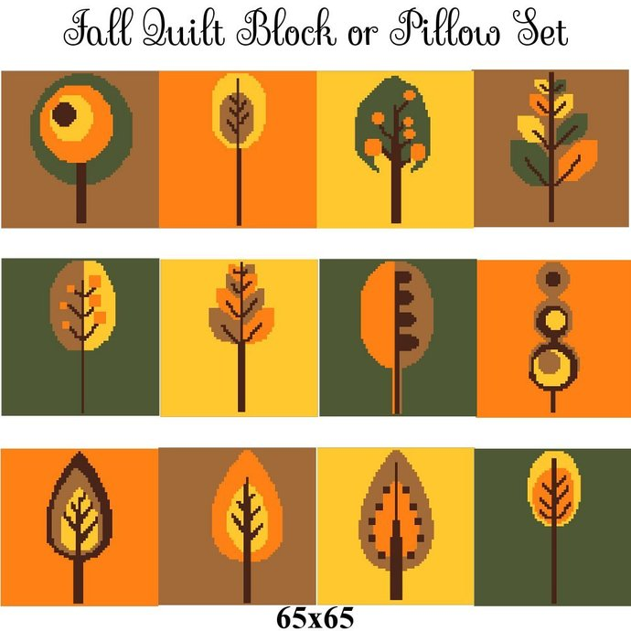 Fall Quilt Block Set Crochet Graph Pattern