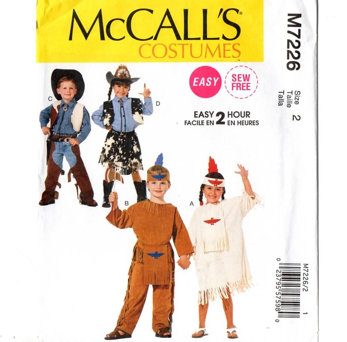 McCall's 7226 Boys, Girls Cowboy & Indian Costume Sewing Pattern Uncut Toddler
