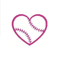 Baseball girl heart silhouette cross stitch pattern in pdf