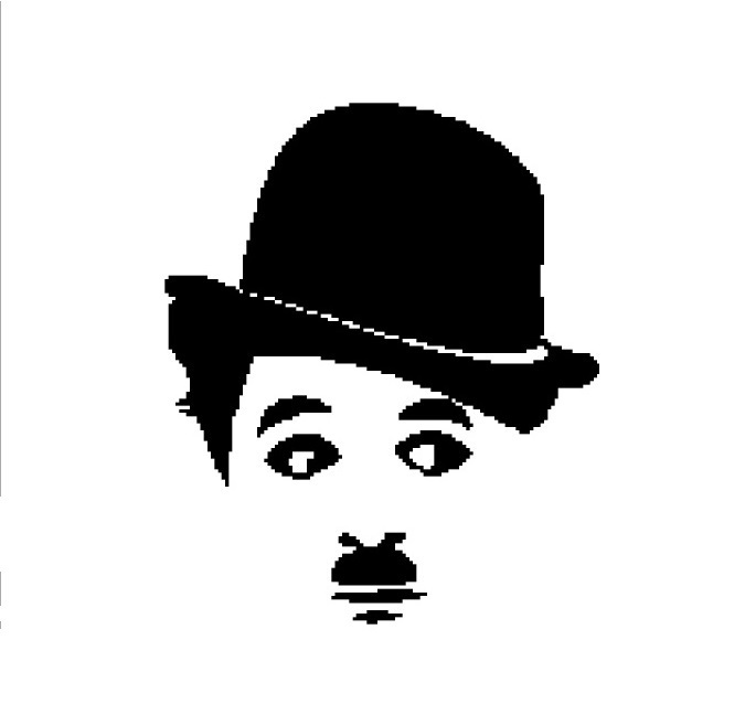 Charlie Chaplin face silhouette cross stitch pattern in pdf