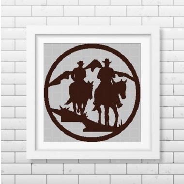 Cowboys silhouette cross stitch pattern in pdf