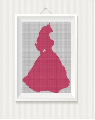 Disney princess Aurora silhouette cross stitch pattern in pdf