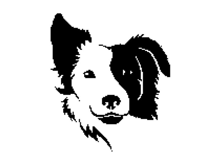Dog Head silhouette cross stitch pattern in pdf
