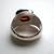 Garnet ring in sterling silver, bezel set oval stone, vintage size 8 1/4 women's