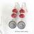 Red Coral Earrings with Silver Pewter Concho Drops - Southwestern / Sundance