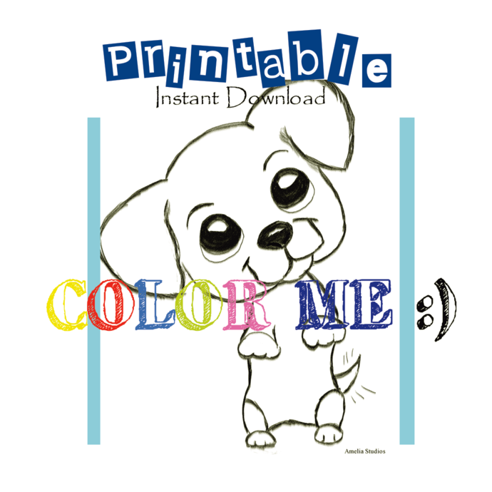 PRINTABLE || Instant Download || Puppy Begging_ Coloring Sheet| Original art by