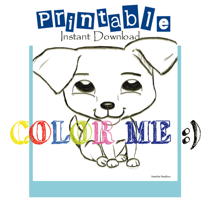 PRINTABLE || Instant Download || Sit_Puppy Coloring Sheet| Original art by