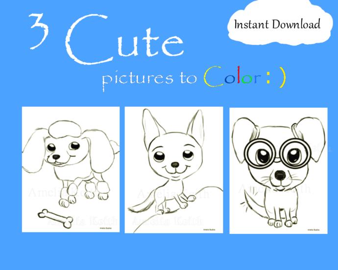PRINTABLE_3 Cute Puppies_COLORING SHEETS by Amelia Keith||For Kids and