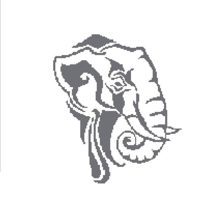 Elephant head silhouette cross stitch pattern in pdf