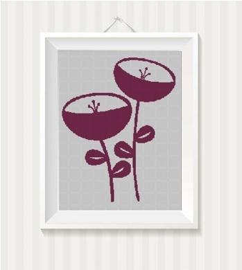 Flowers 2 silhouette cross stitch pattern