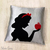 Snow White Silhouette Decorative White Pillow Cover. 16inch Fairy Tale Princess
