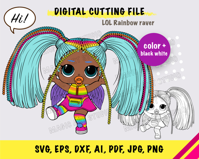 LOL Rainbow raver SVG, eps, dxf, ai, pdf, jpg, png