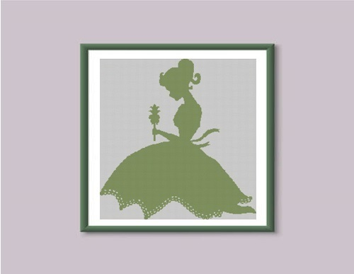 Girl with flower silhouette cross stitch pattern
