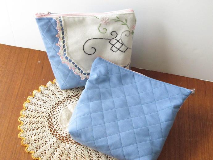Blue Toiletries Bag for Hygiene, Diabetic Supplies or Purse