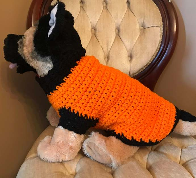 Orange and Black Medium Dog Crochet Sweater