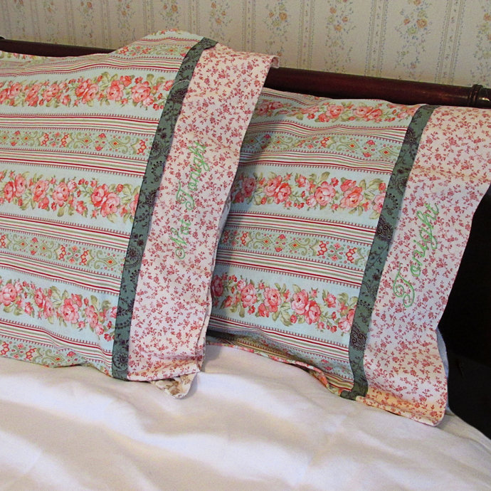 Gift for Someone Who is Hard to Buy for, Peach and Green Pillowcases with