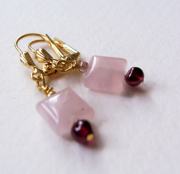 Garnet and Rose Quartz Leverback  Dangle Earrings
