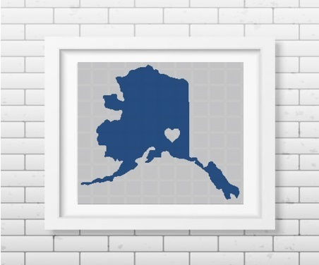 My heart Alaska State silhouette cross stitch pattern in pdf
