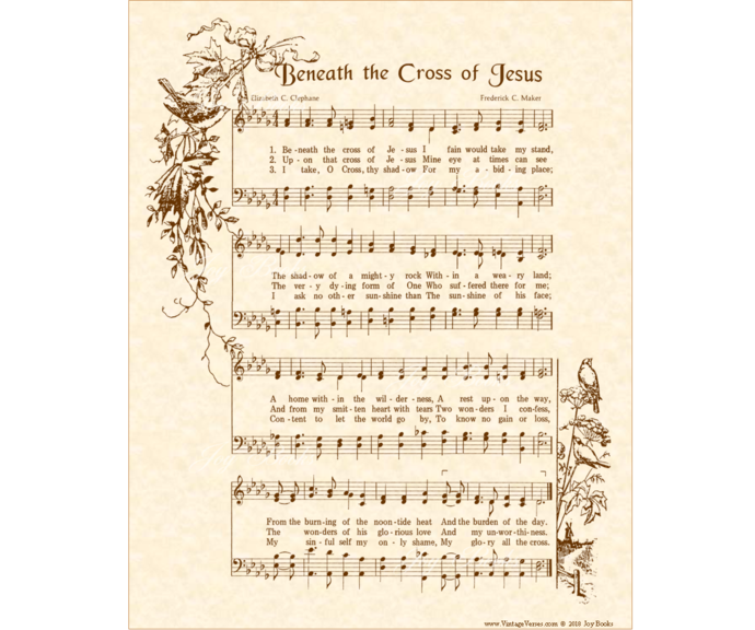 Beneath The Cross Of Jesus Vintage Verses DIY Print It Yourself Sheet Music Wall