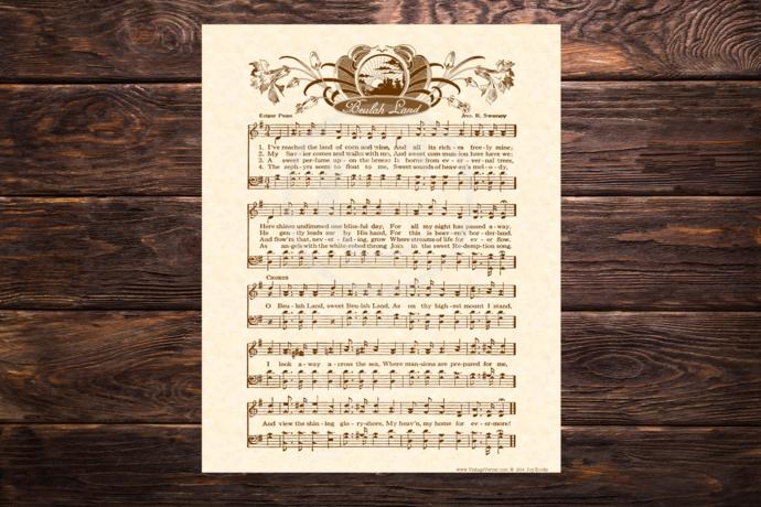 Beulah Land Vintage Verses DIY Print It Yourself Sheet Music Wall Art Antique