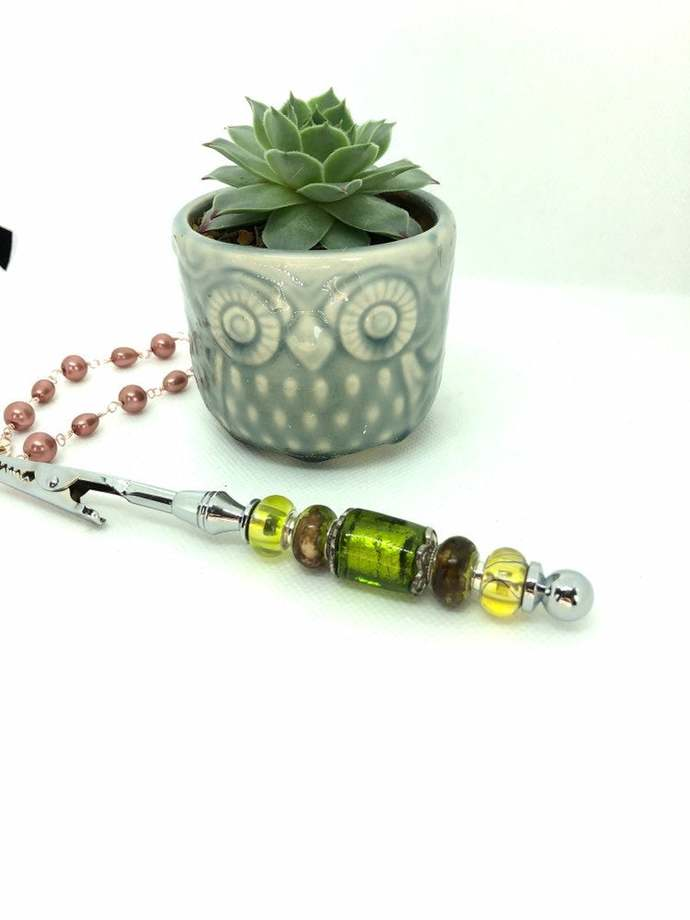 Green Beaded Bracelet Helper - Handmade Glass Gifts - Bracelet Assist - Gifts