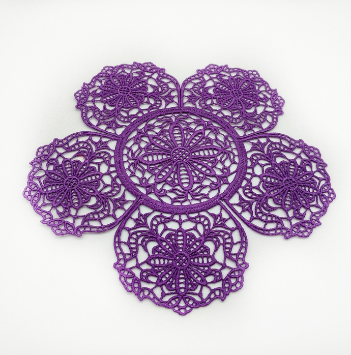 Purple Daisy Centerpiece, Lace Table Decor, Gifts Under $20, Unique Lace