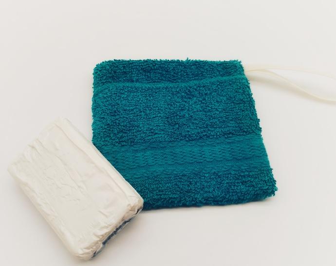 Turquoise Shower Soap Saver Bag, Bath Accessory for Seniors