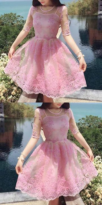 Half Sleeve Pink Appliques Lace Homecoming Dress, Pink Short Prom Dress,