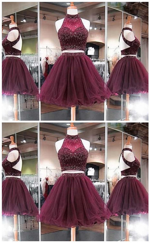 Elegant Tulle Two Piece Prom Dress, High neck Dark Burgundy Short Homecoming