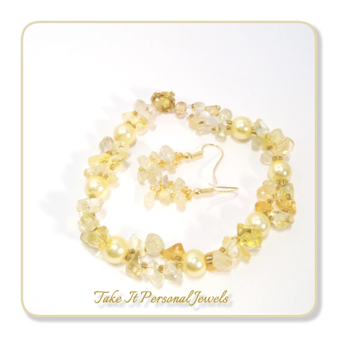 Gemstone Jewerly Citrine handmade pearl bracelet Free Matching Earrings