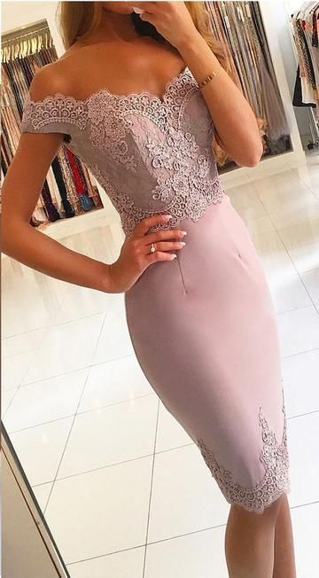 Sexy Off the Shoulder Prom Dress, Appliques Short Evening Party Dress