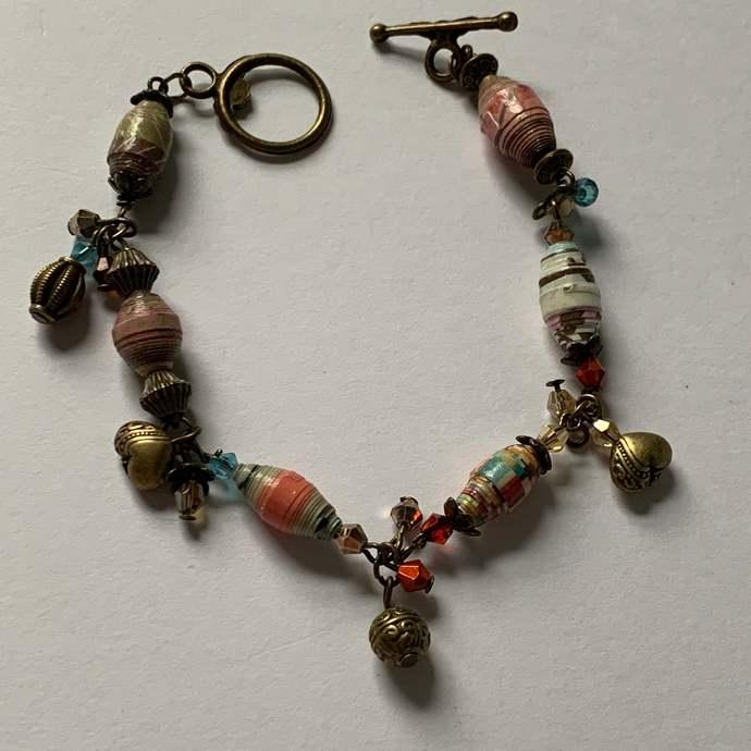 Charm Bracelet, Bohemian Bracelet, heart charms, Paper breads, Antique Bronze,