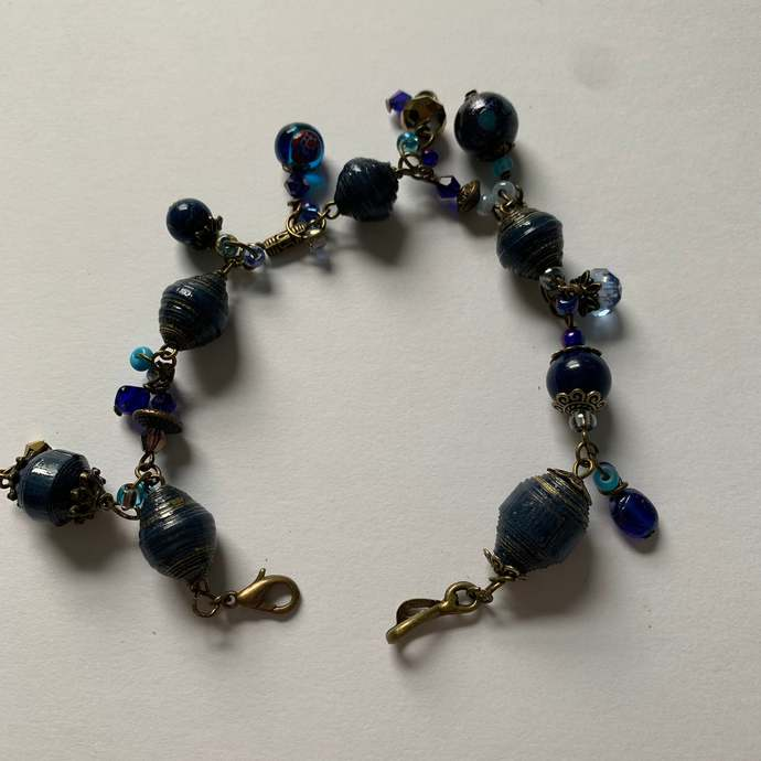 Beaded bracelet, single strand, bronze metals, seed beads, Navy Blue, boho chic,