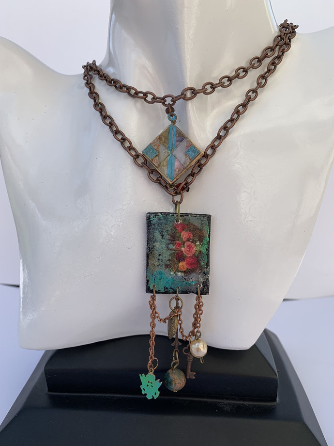 Boho chic. gypsy pendent, colorful necklace, multi layered chains, vintaj