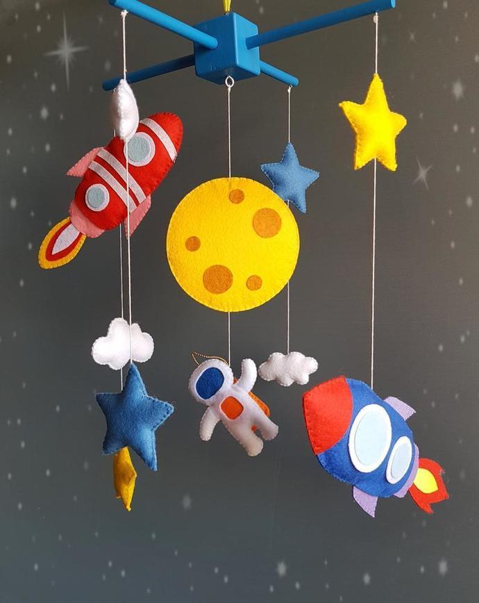 Spaceship baby mobile astronauts crib nursery felt galaxy mobile baby custom