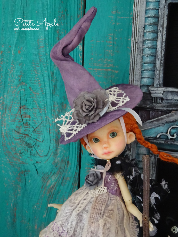 OOAK witch costume for Wren Bbflocking - 5-pieces Hat, dress, scarf, socks, and