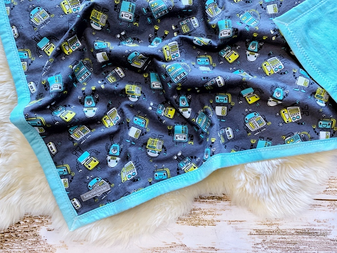 50% OFF! Blinky Robots Double-Layer Flannel Blanket