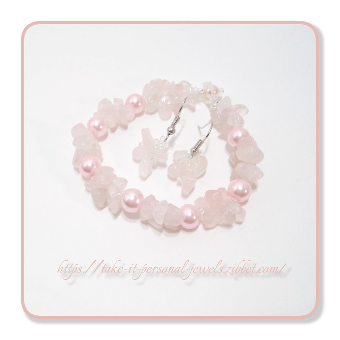 Gemstone Jewelry Handmade Rose Quartz Glass Pearls bracelet Free Matching